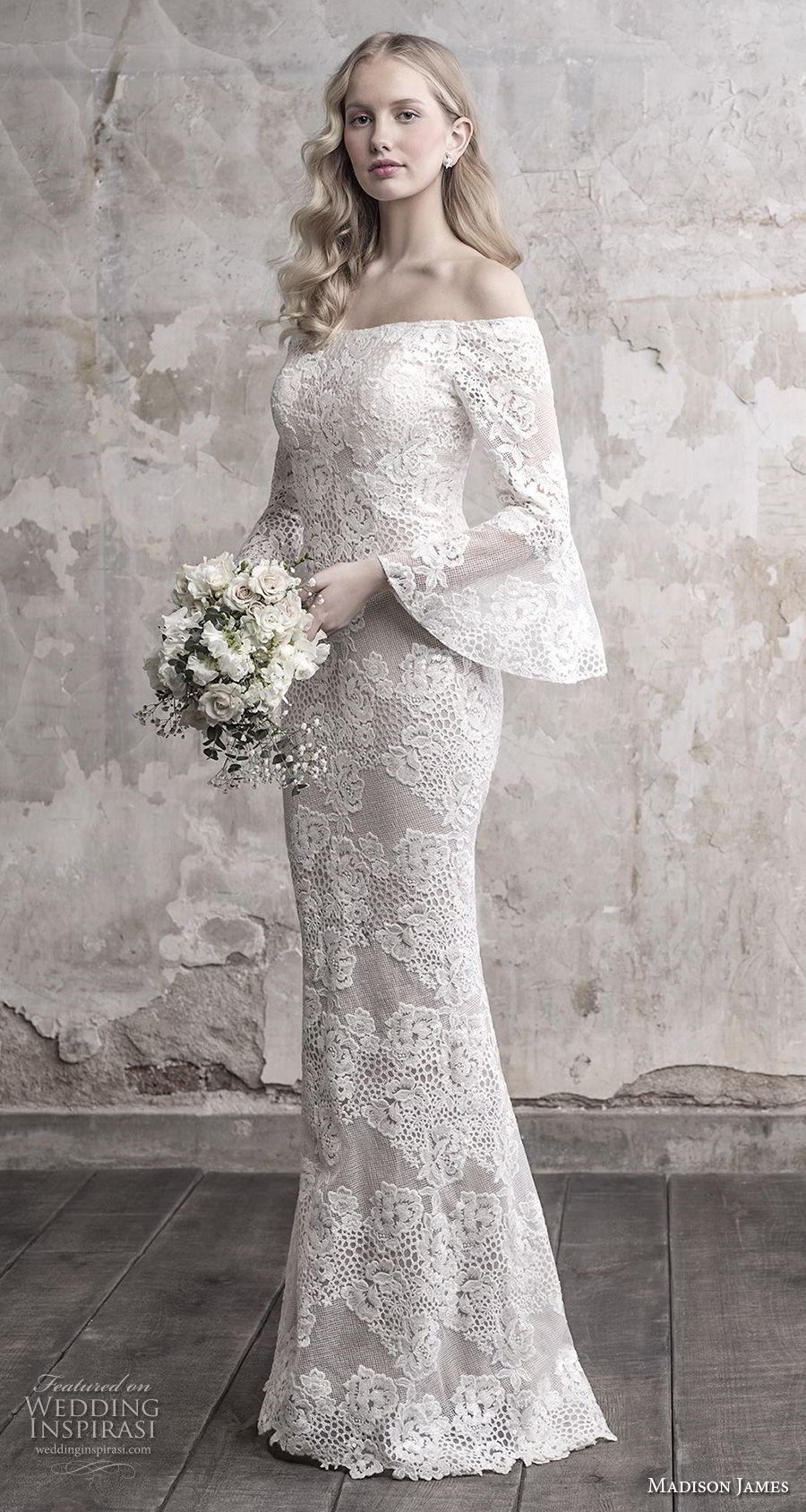 madison james fall 2018 bridal long funnel sleeves off the shoulder straight across neckline full embellishment elegant fit and flare wedding dress sweep train (13) mv