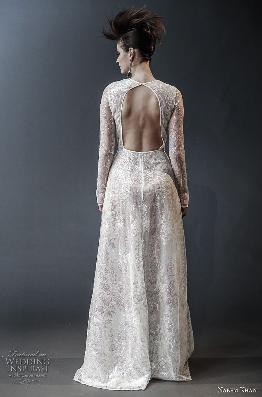 naeem khan spring 2019 bridal long sleeves jewel neck full embellishment modest modified a line wedding dress keyhole back (6) bv