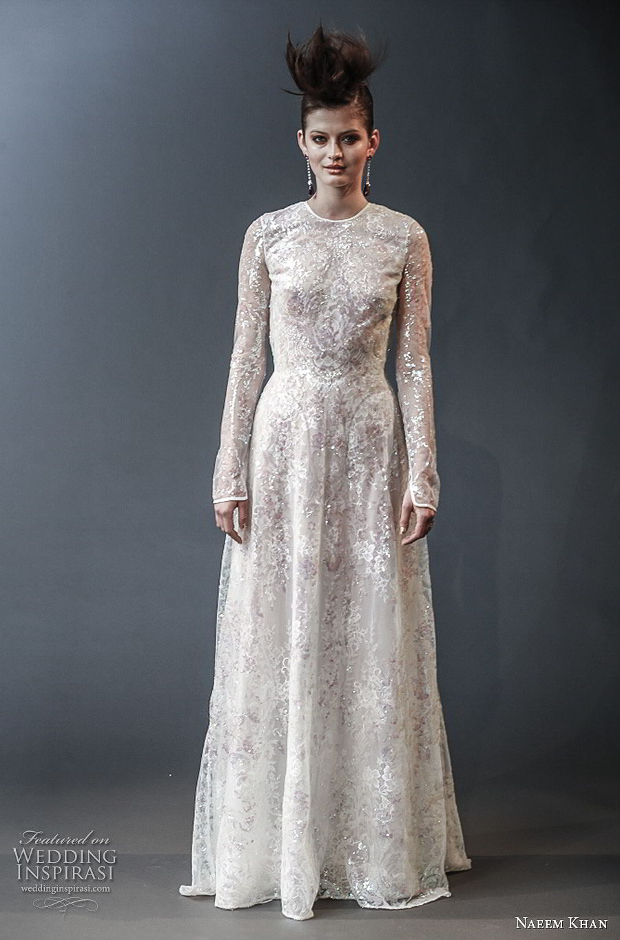 naeem khan spring 2019 bridal long sleeves jewel neck full embellishment modest modified a line wedding dress keyhole back (6) mv