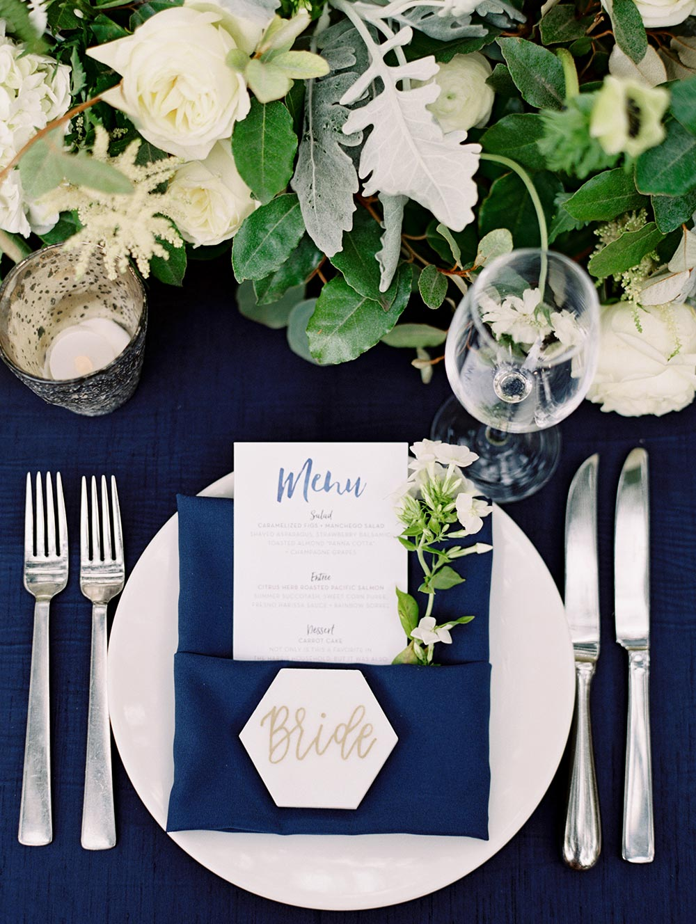 modern calligraphy wedding place setting with marble details