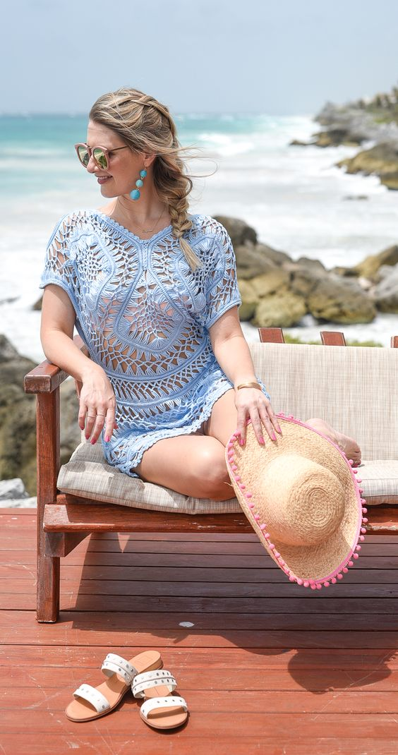 a blue crocheted tunic is a cool piece and can be easily and fast DIYed