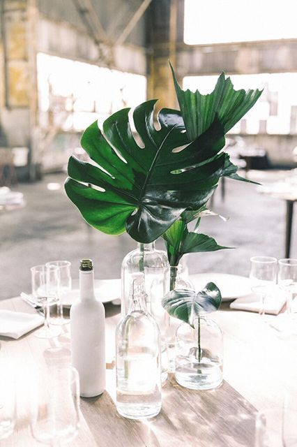 a minimalist tropical wedding centerpiece with clear glass bottles and tropical leaves