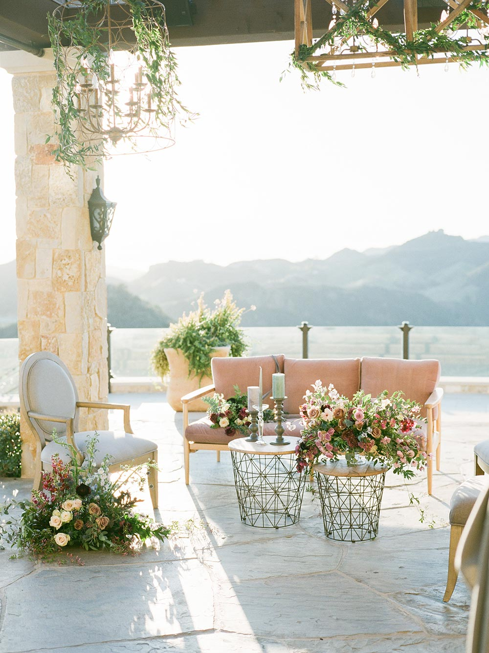 al fresco cocktail hour tuscan villa wedding venue