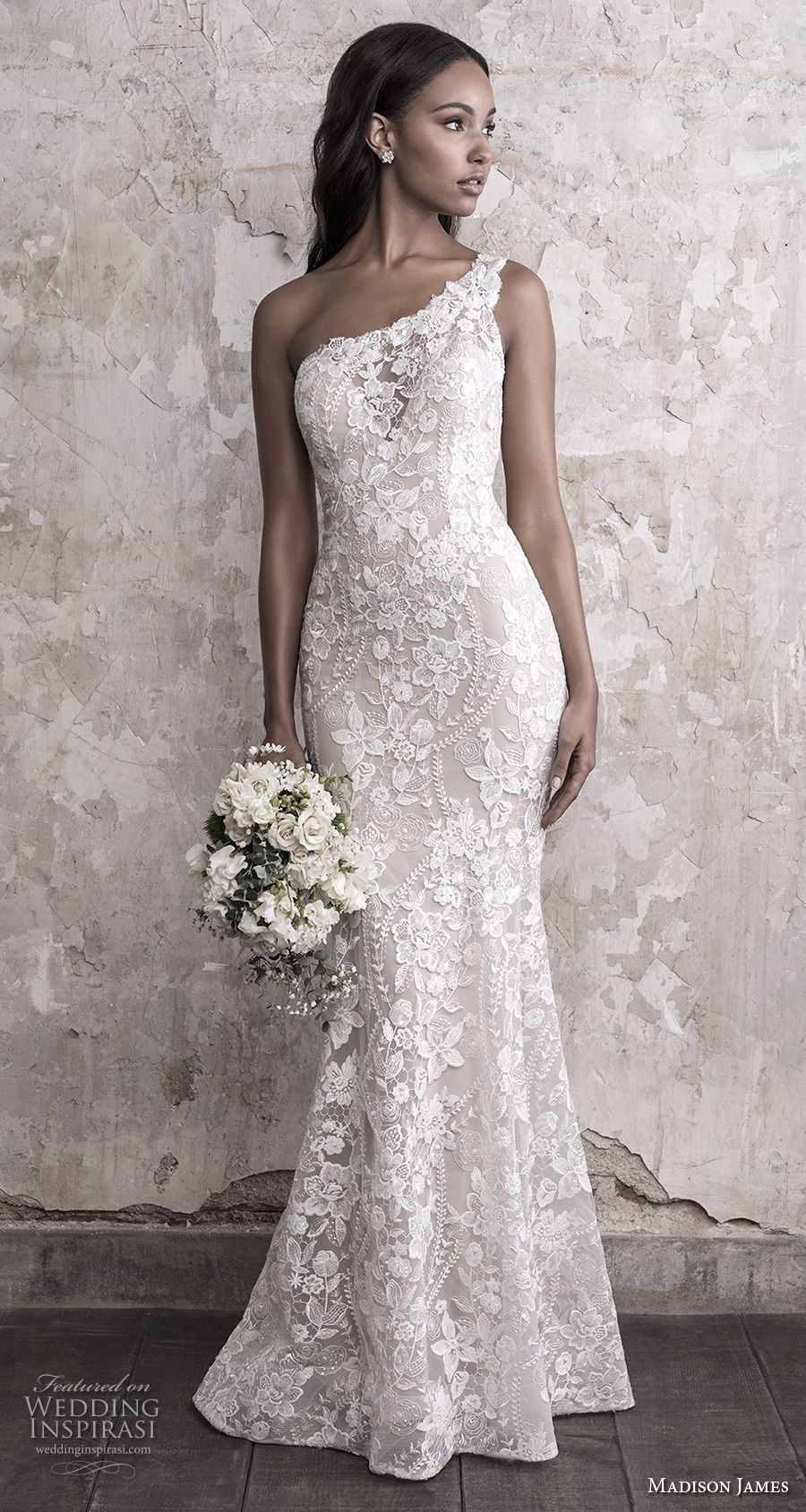 madison james fall 2018 bridal sleeveless one shoulder full embellishment elegant fit and flare wedding dress chapel train (10) mv