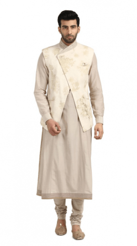 Overlap-Nehru-Jacket-outfit-279x500 27 Latest Engagement Dresses for Men in India