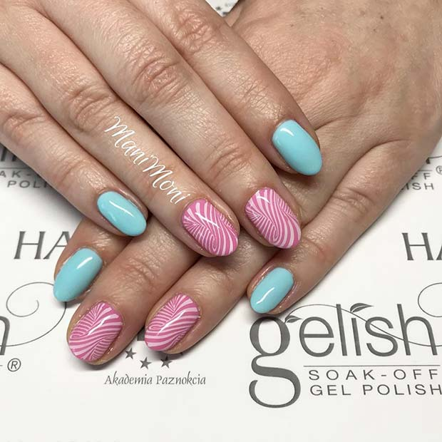 Pastel Pink and Blue Nails