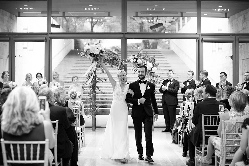 modern wedding ceremony inside art museum