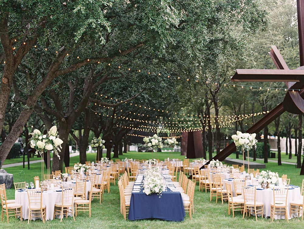 navy tables outdoor wedding reception