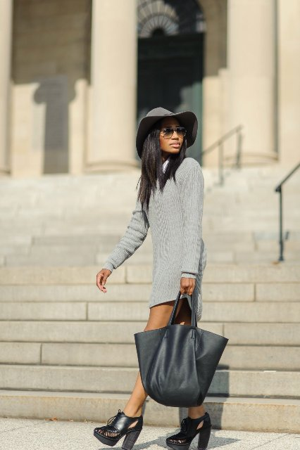 With gray hat, light gray dress and cutout shoes