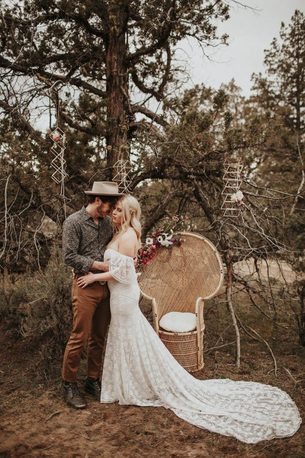 a full lace sweetheart neckline off the shoulder mermaid wedding dress with a train for a boho look