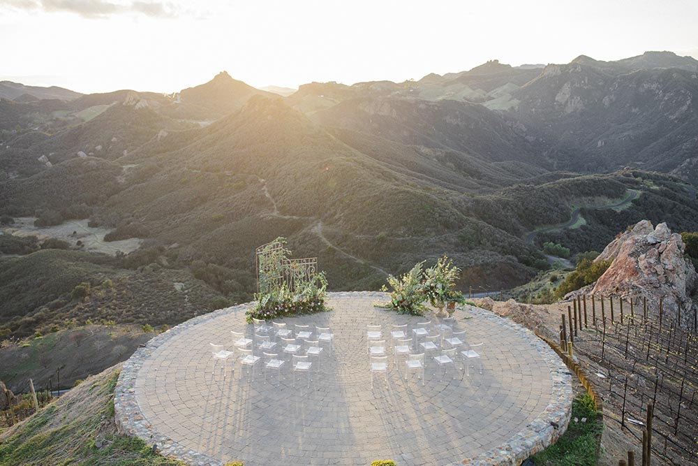 helipad wedding ceremony birds eye view