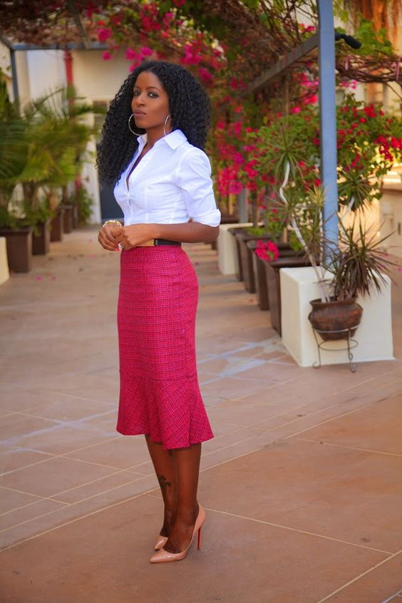 a cripsy white shirt, a hot pink midi skirt, blush shoes and a belt