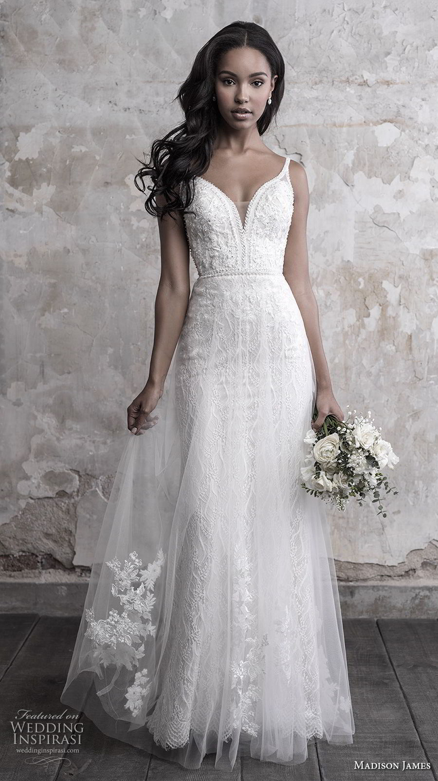 madison james fall 2018 bridal sleeveless thin strap deep sweetheart neckline full embellishment tulle skirt romantic soft a line wedding dress open back chapel train (3) mv