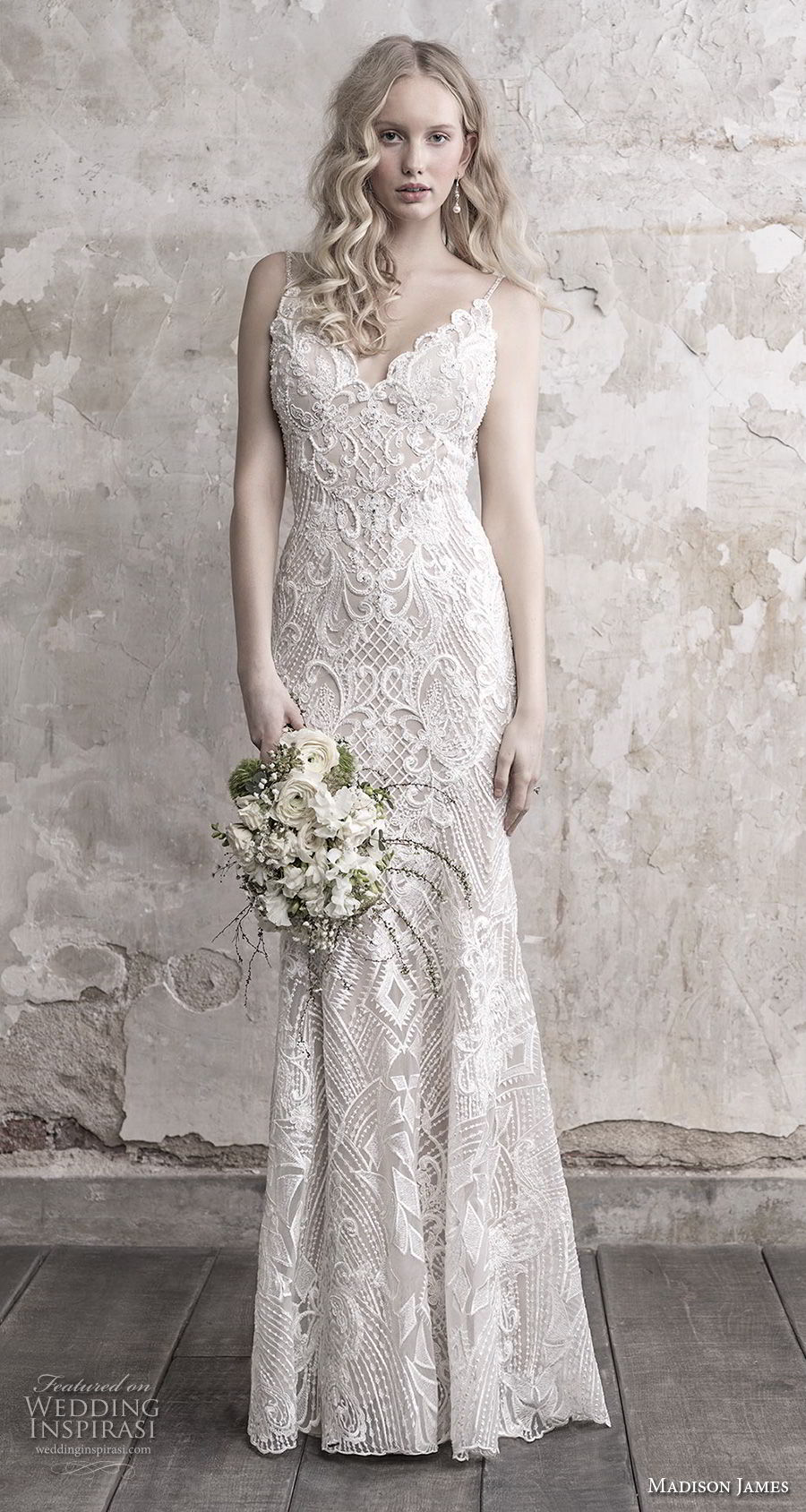 madison james fall 2018 bridal spaghetti strap sweetheart neckline full embellishment elegant sheath wedding dress open back chapel train (4) mv