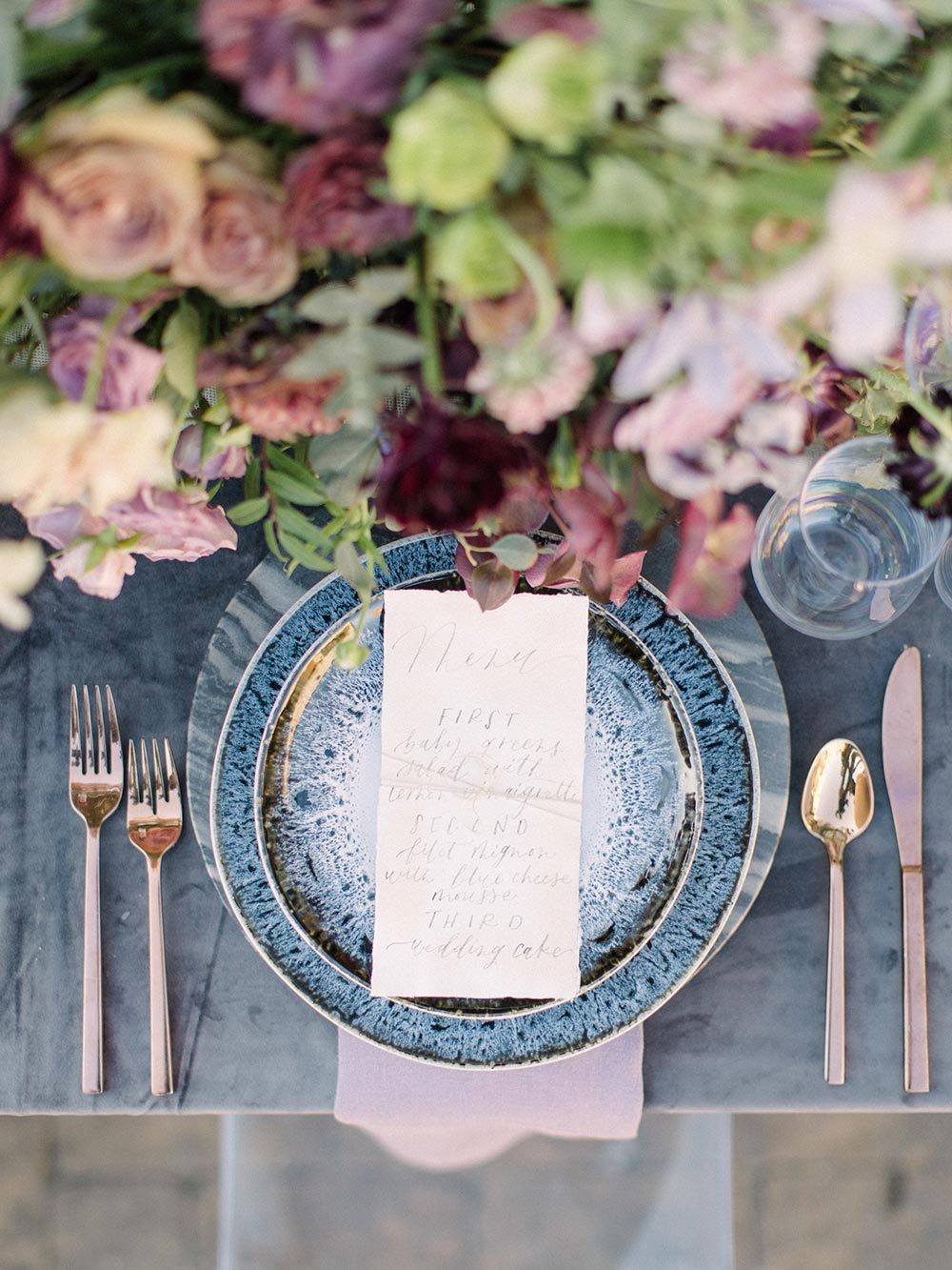 indigo ink-drip wedding plates with calligraphy menu