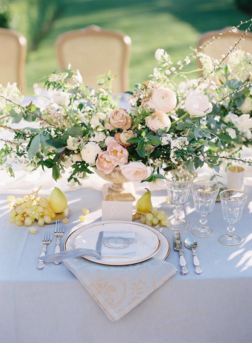 pale blue and pastel pink al fresco wedding tablescape