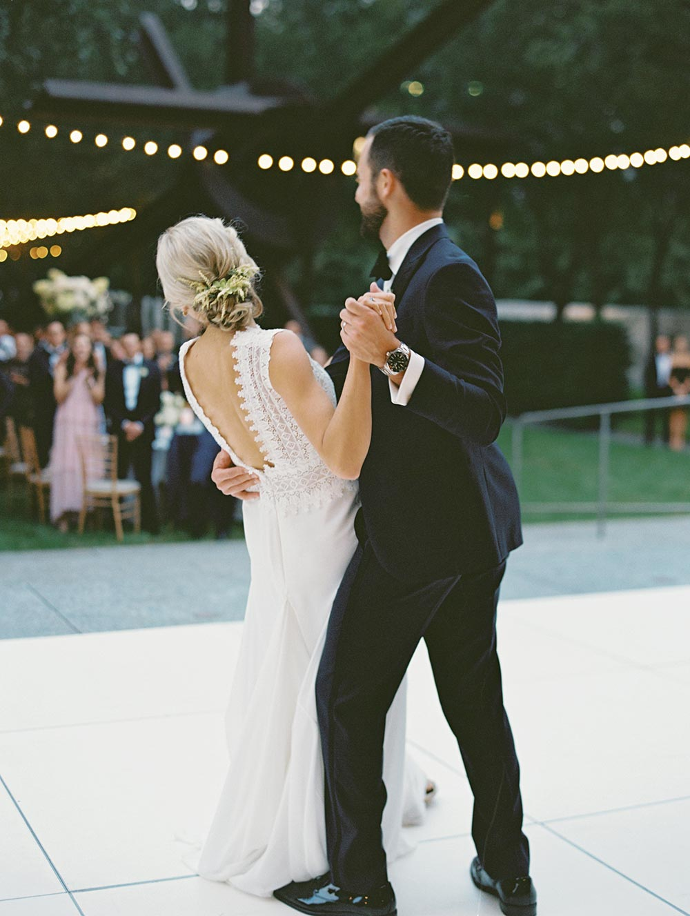 modern lace embroidered wedding dressed navy groom tux first dance
