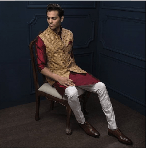 Golden-Bandhgala-with-red-Kurta-493x500 27 Latest Engagement Dresses for Men in India