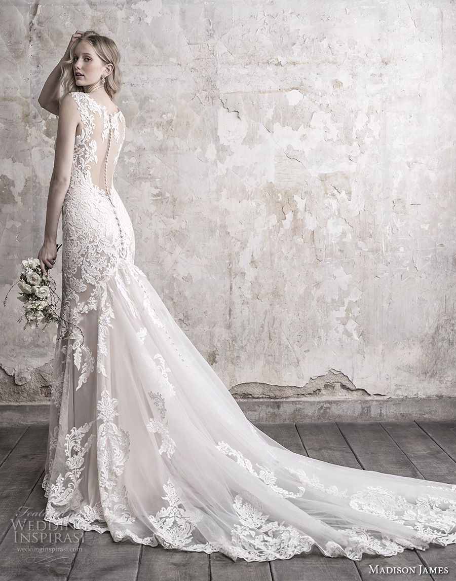 madison james fall 2018 bridal sleeveless with strap deep sweetheart neckline full embellishment elegant sheath wedding dress sheer button back long train (11) bv
