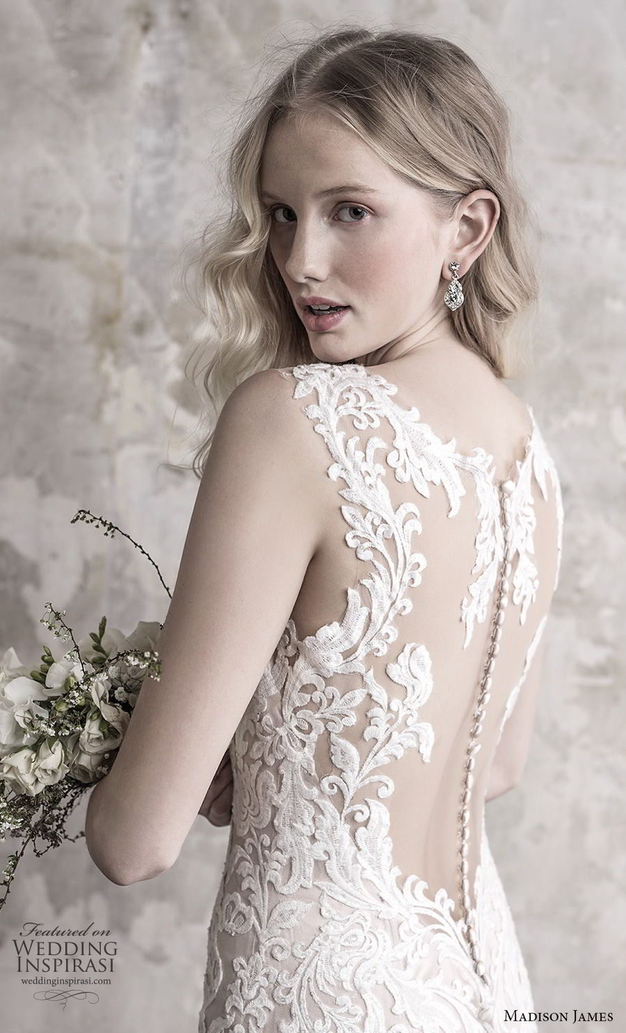 madison james fall 2018 bridal sleeveless with strap deep sweetheart neckline full embellishment elegant sheath wedding dress sheer button back long train (11) zbv