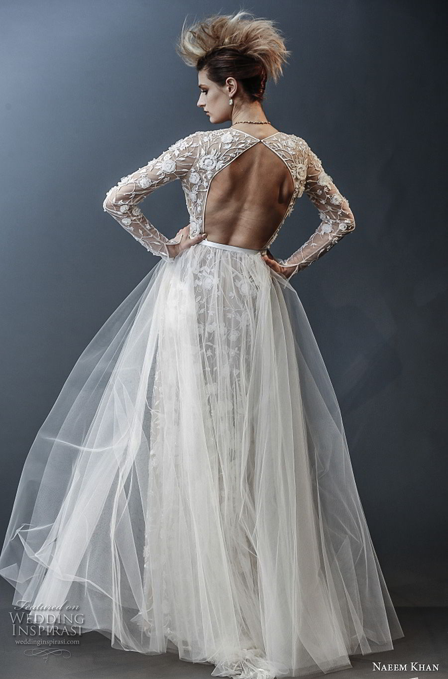 naeem khan spring 2019 bridal long sleeves deep v neck full embellishment sexy romantic sheath wedding dress a line overskirt keyhole back sweep train (3) bv