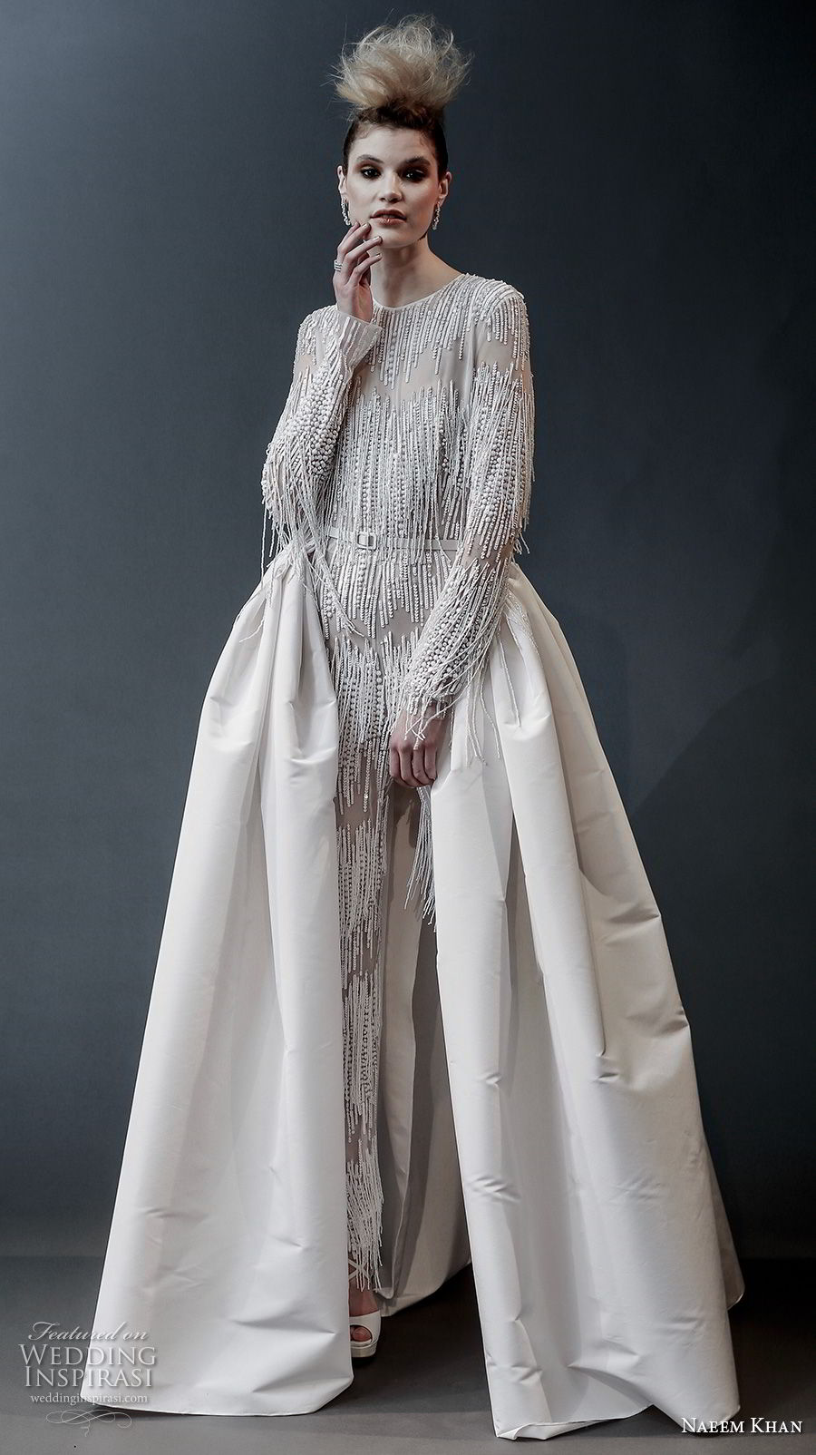 naeem khan spring 2019 bridal long sleeves jewel neck full embellishment modern glamorous jumpsuit wedding dress a line overskirt covered back sweep train (4) mv