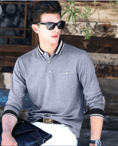 Long-Sleeved-Polo-Shirt-403x500 18 Best Tips and Business Casual Outfits For Men