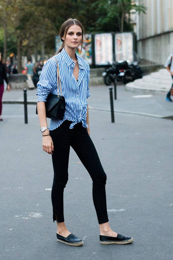 black skinnies, a blue striped shirt, black espadrilles for a relaxed feel