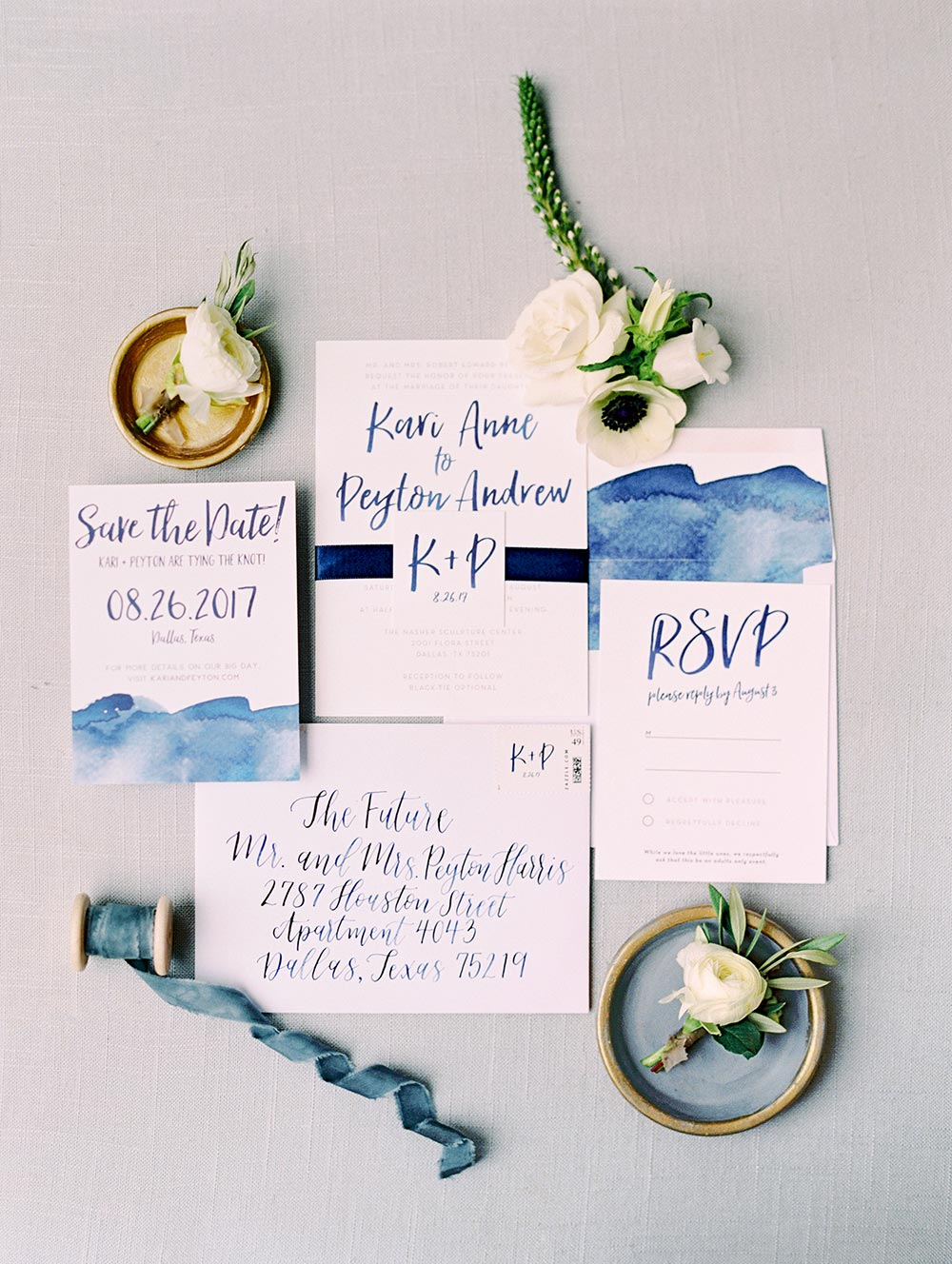 watercolor blue wedding invitations