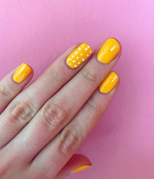 Yellow Polka Dot Nails