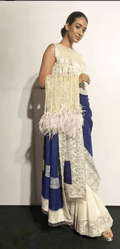 Saree-embellished-with-feathers-242x500 27 Latest Engagement Dresses for Women in India