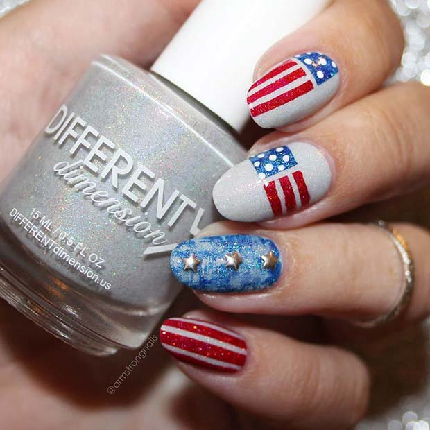 American Flag Nails for the 4th of July