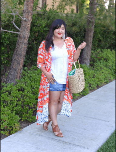 Playing-with-Kimonos-382x500 How to Wear Shorts for Plus Size–20 Plus Size Shorts Outfits