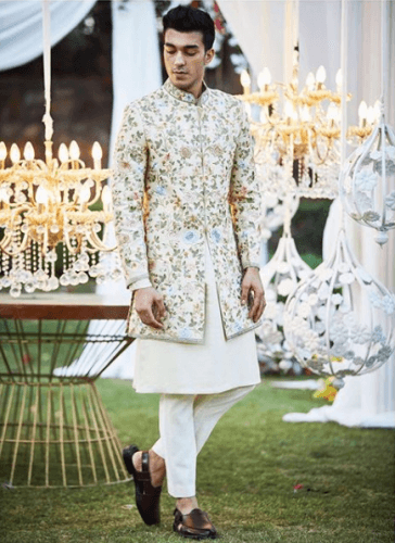 Front-slit-Sherwani-with-Long-Kurta-and-Pants-364x500 27 Latest Engagement Dresses for Men in India