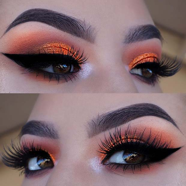 Vibrant Orange Eye Makeup for Summer