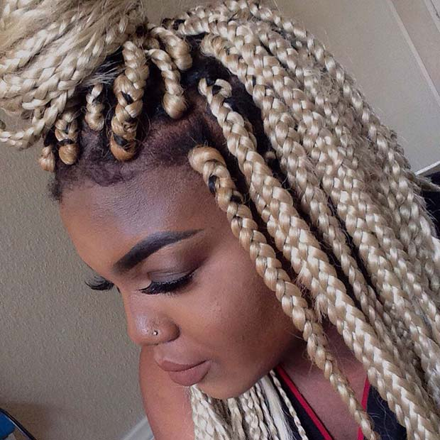 Blonde Box Braids Half-Up Bun