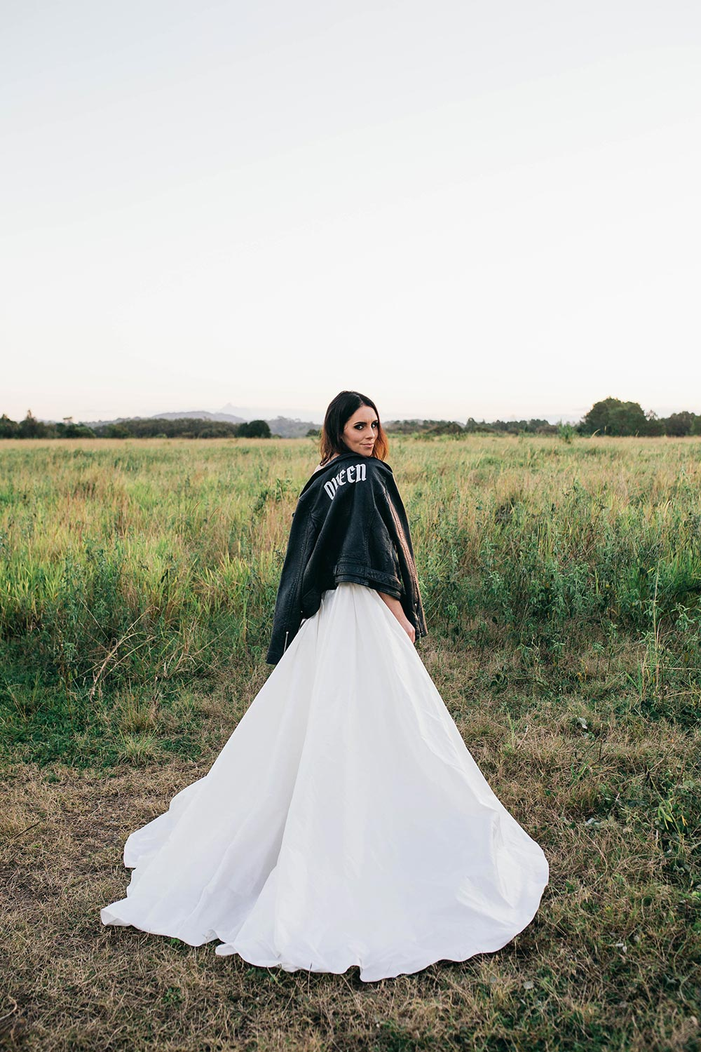 black leather bridal jacket queen