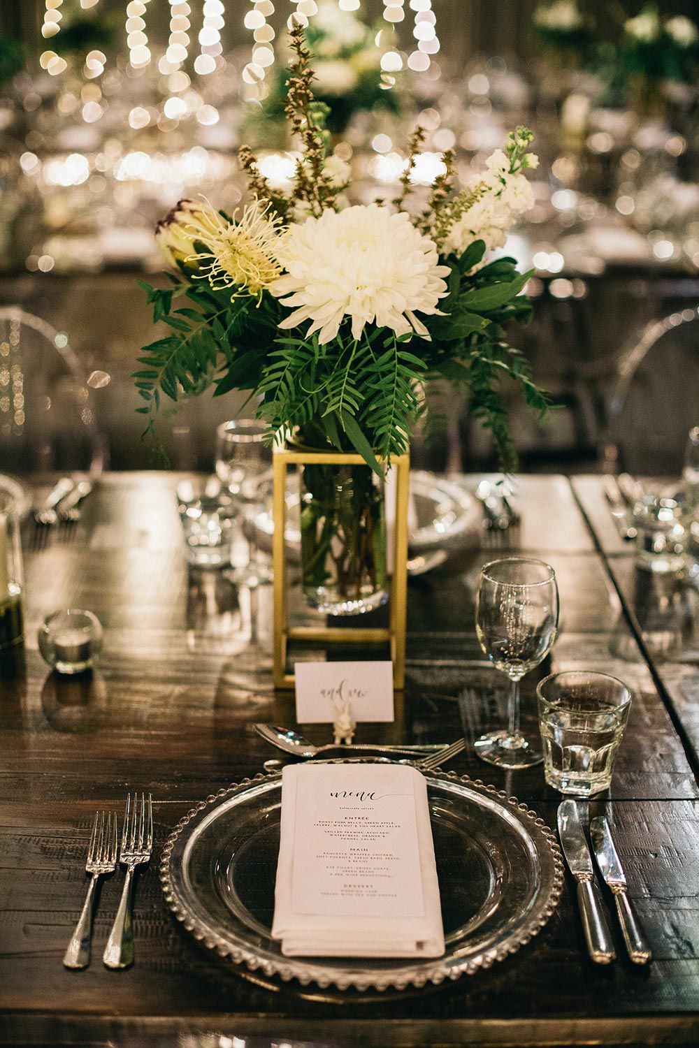 industrial wedding reception decor and menu