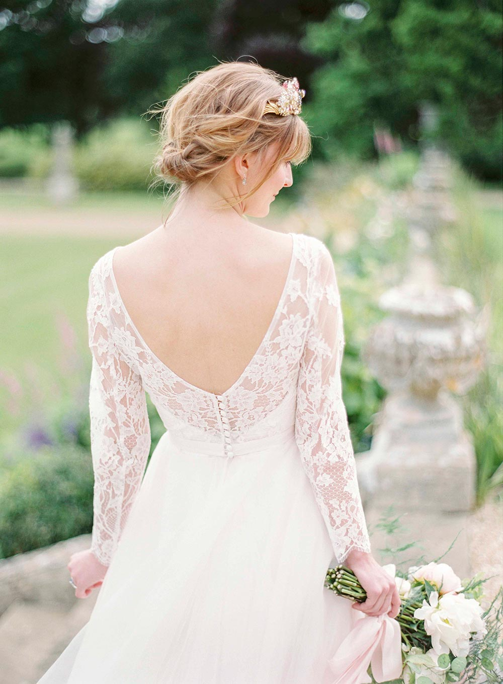 lace wedding dress with bridal headpiece
