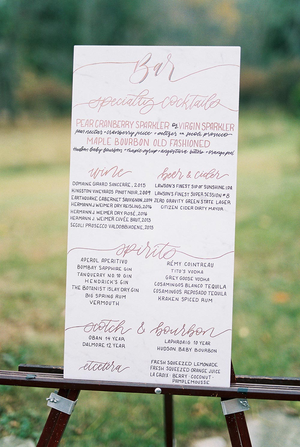 wedding bar signage with romantic calligraphy