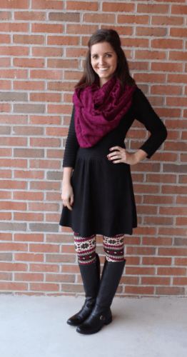 Casual-holiday-party-outfit-262x500 How to Wear Leggings Under a Dress- 24 Legging Outfit Ideas