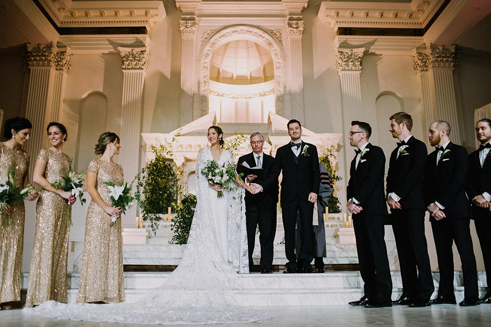 cathedral wedding ceremony with greenery