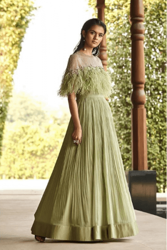 Faux-Fur-Embellished-Gown-333x500 27 Latest Engagement Dresses for Women in India