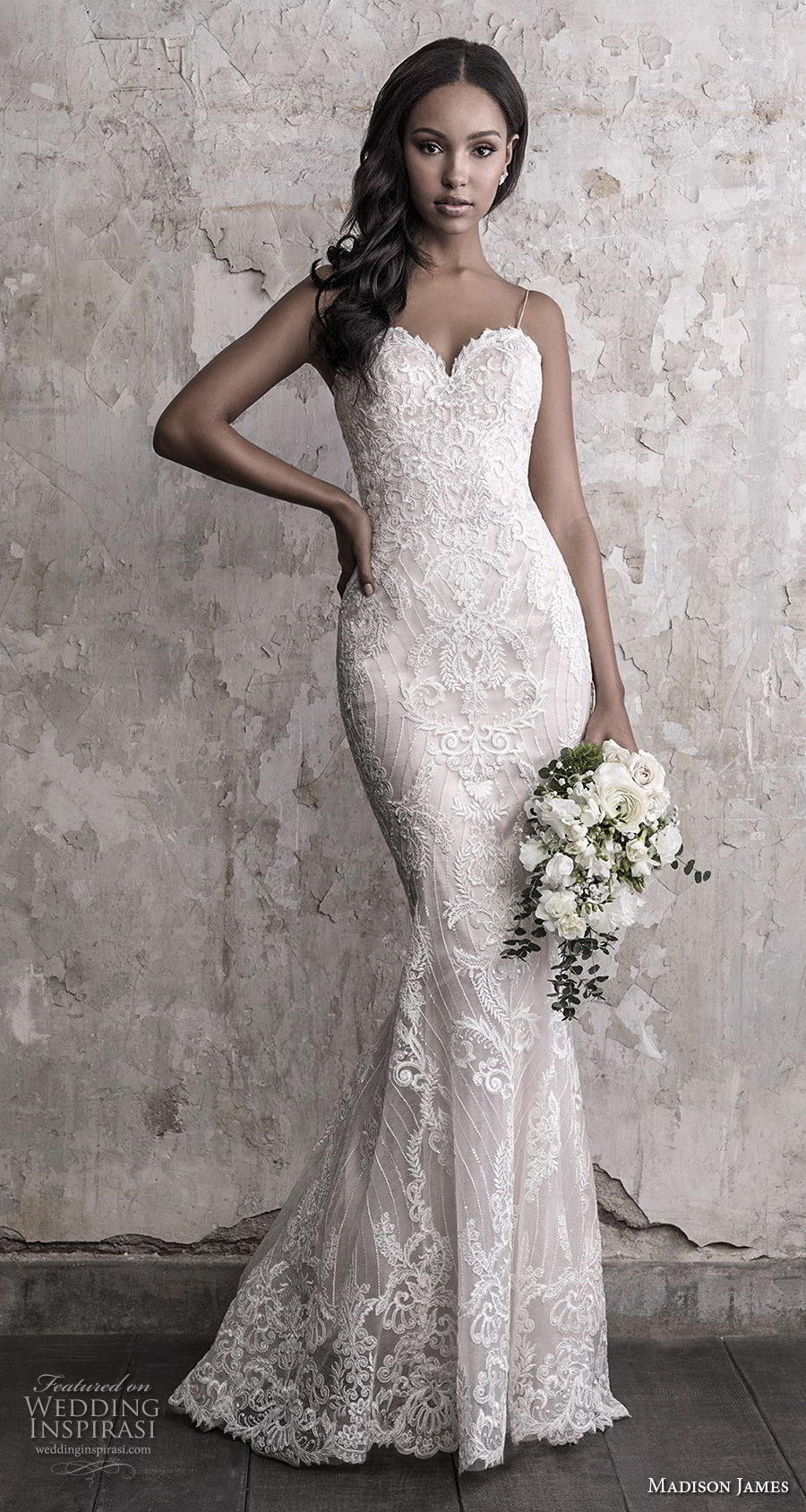madison james fall 2018 bridal spaghetti strap sweetheart neckline full embellishment elegant romantic fit and flare wedding dress chapel train (14) mv