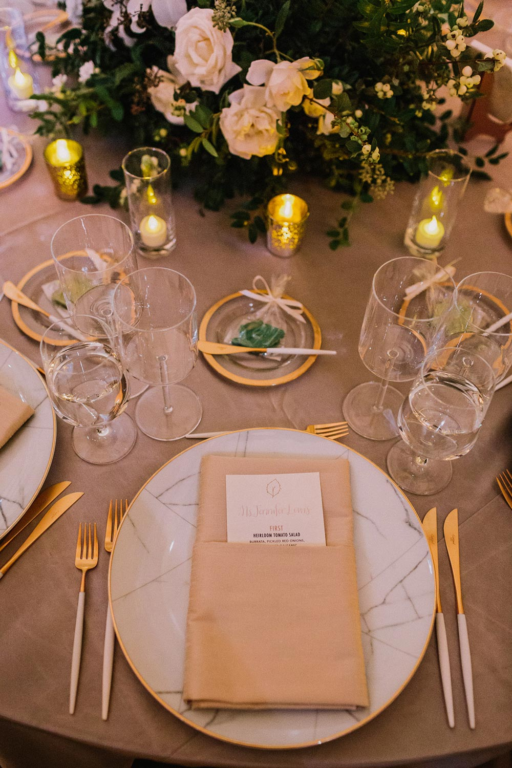 glamorous wedding place setting with textured plates