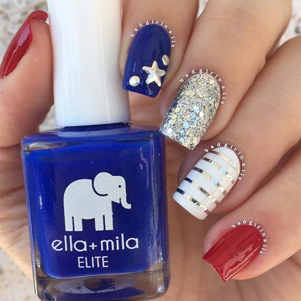 Glam 4th of July Nails