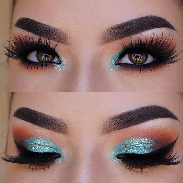 Turquoise Smokey Eye Makeup