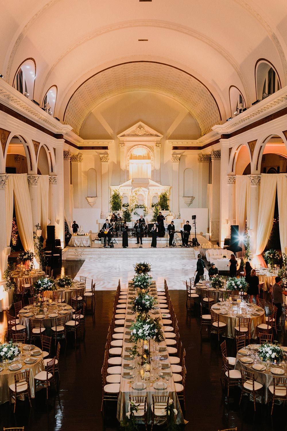 glamorous cathedral wedding reception