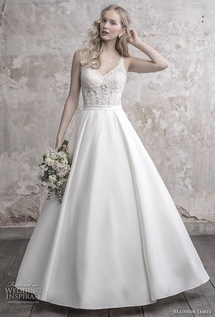 madison james fall 2018 bridal spaghetti strap diamond neck heavily embellished bodice satin skirt romantic a line wedding dress full lace back long train (9) mv