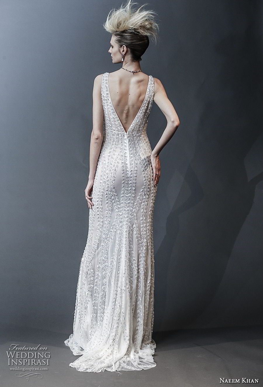 naeem khan spring 2019 bridal sleeveless v neck full embellishment glitzy glamorous column wedding dress v back sweep train (10) bv